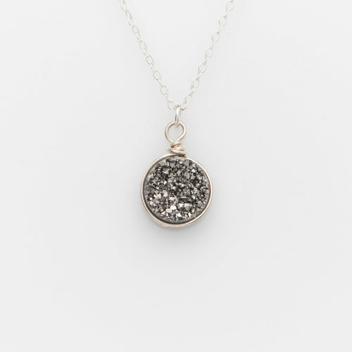 Round Titanium Druzy Sterling Silver Filled Necklace