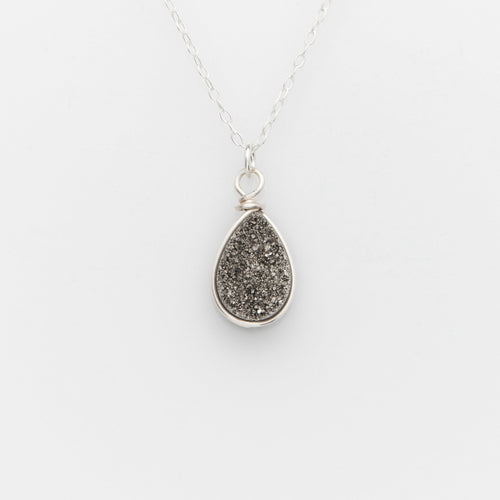 Pear Titanium Druzy Sterling Silver Filled Necklace