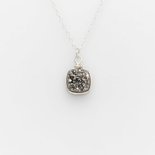 Sm Cushion Titanium Druzy Sterling Silver Filled Necklace
