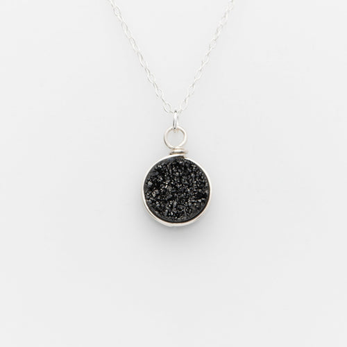 Round Midnight Black Druzy Sterling Silver Necklace