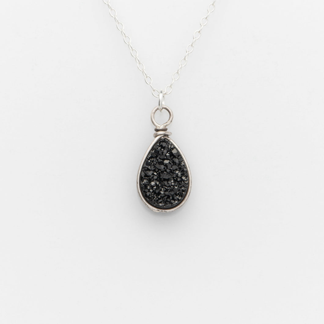Pear Midnight Black Druzy Sterling Silver Necklace