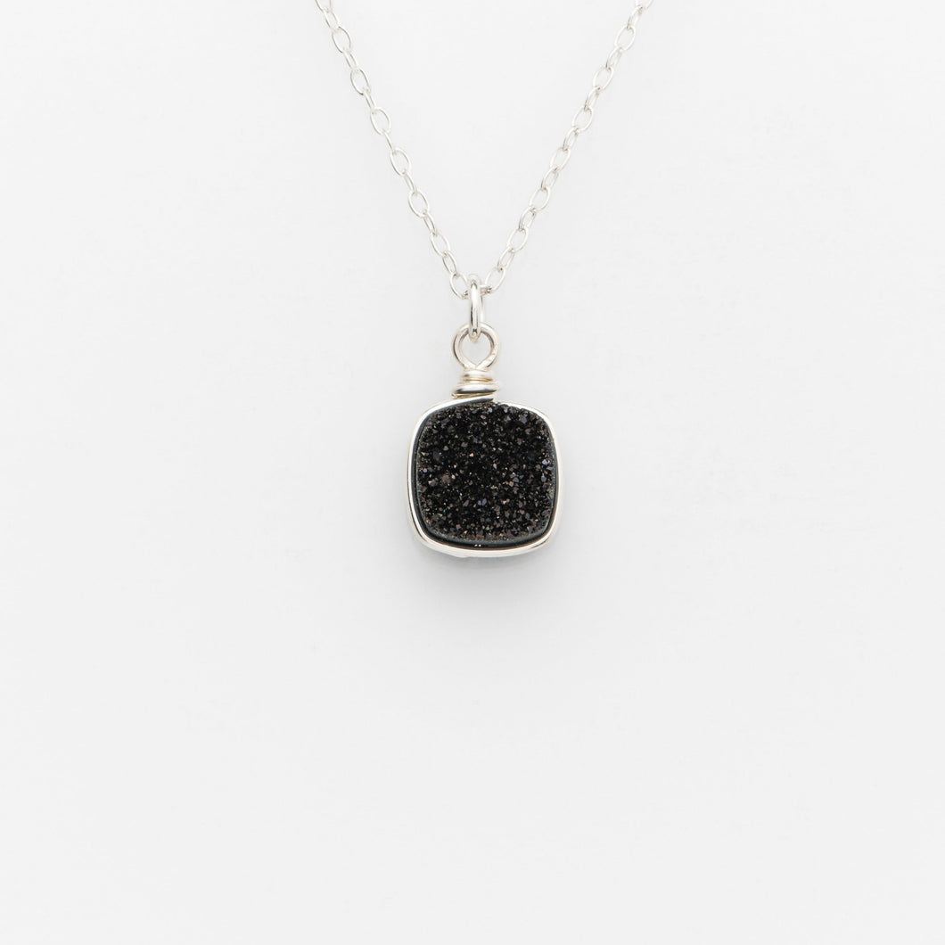 Sm Cushion Midnight Black Druzy Sterling Silver Necklace