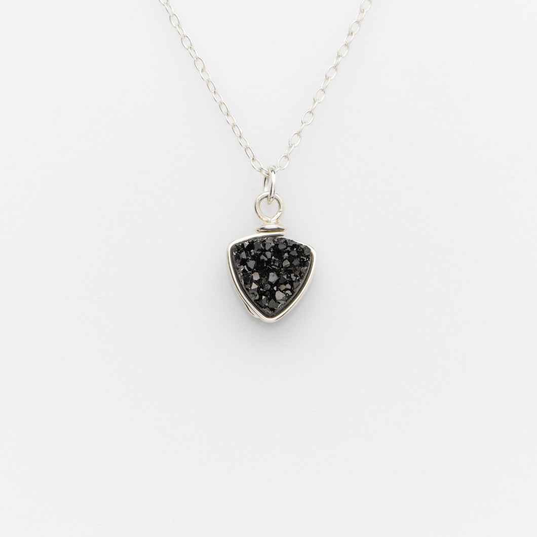 Trillion Midnight Black Druzy Sterling Silver Necklace