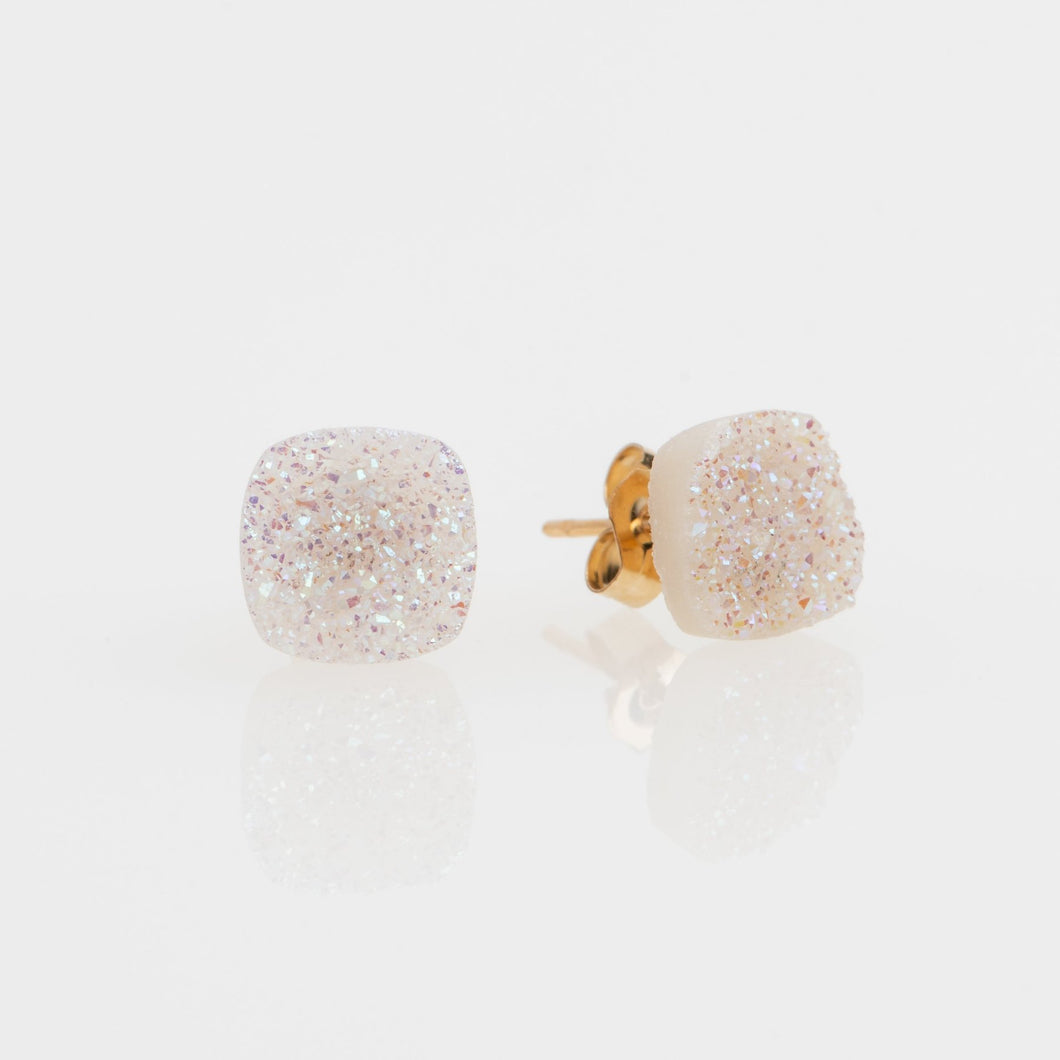 8mm Cushion cut white druzy gold filled stud earrings