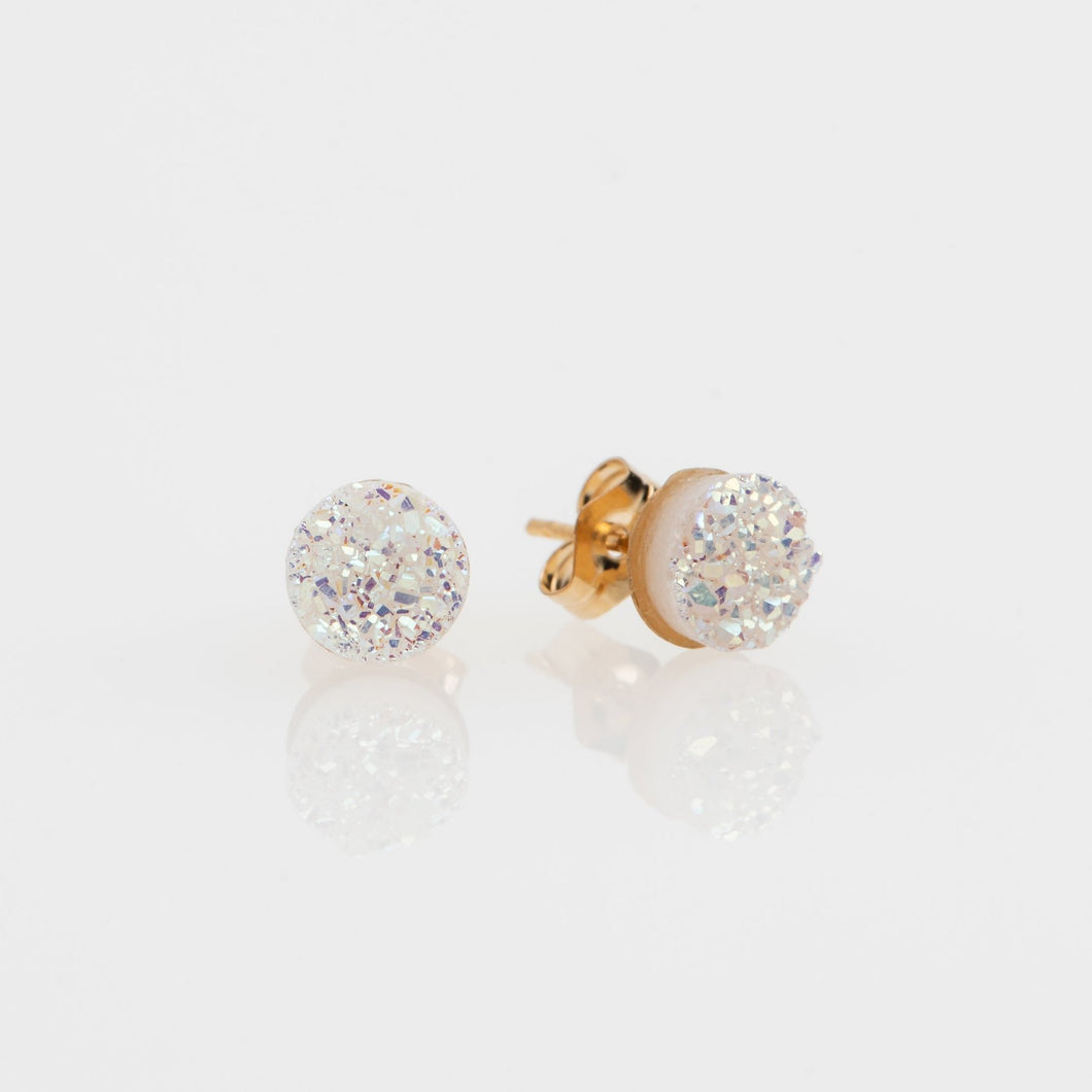 6mm round cut white druzy gold filled stud earrings