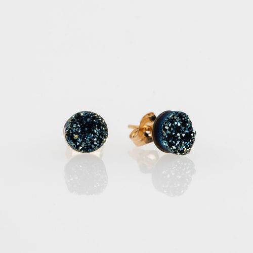 6mm round cut ocean blue druzy gold filled stud earrings