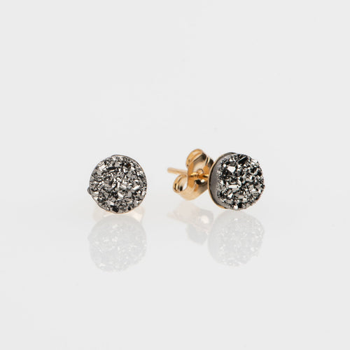 6mm round cut titanium druzy gold filled stud earrings