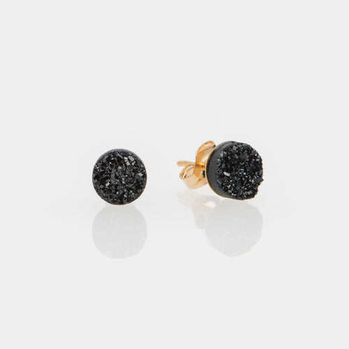 6mm round cut midnight black druzy gold filled stud earrings