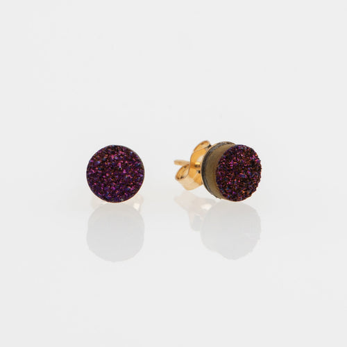 6mm round cut purple druzy gold filled stud earrings