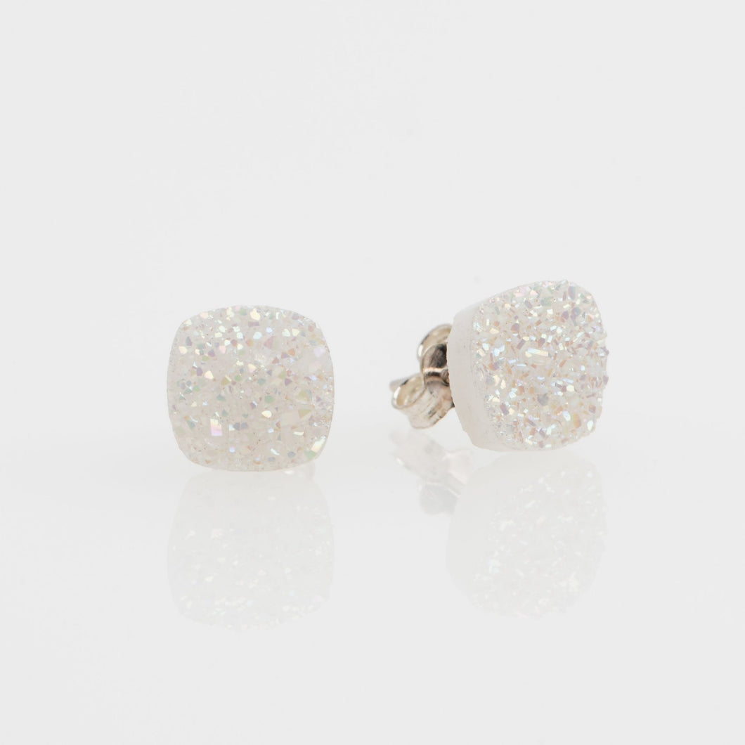 8mm Cushion cut white druzy sterling silver stud earrings