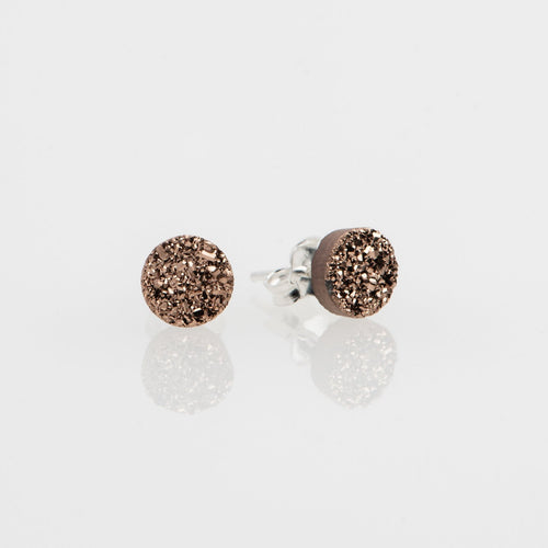 6mm round cut rose gold druzy sterling silver stud earrings