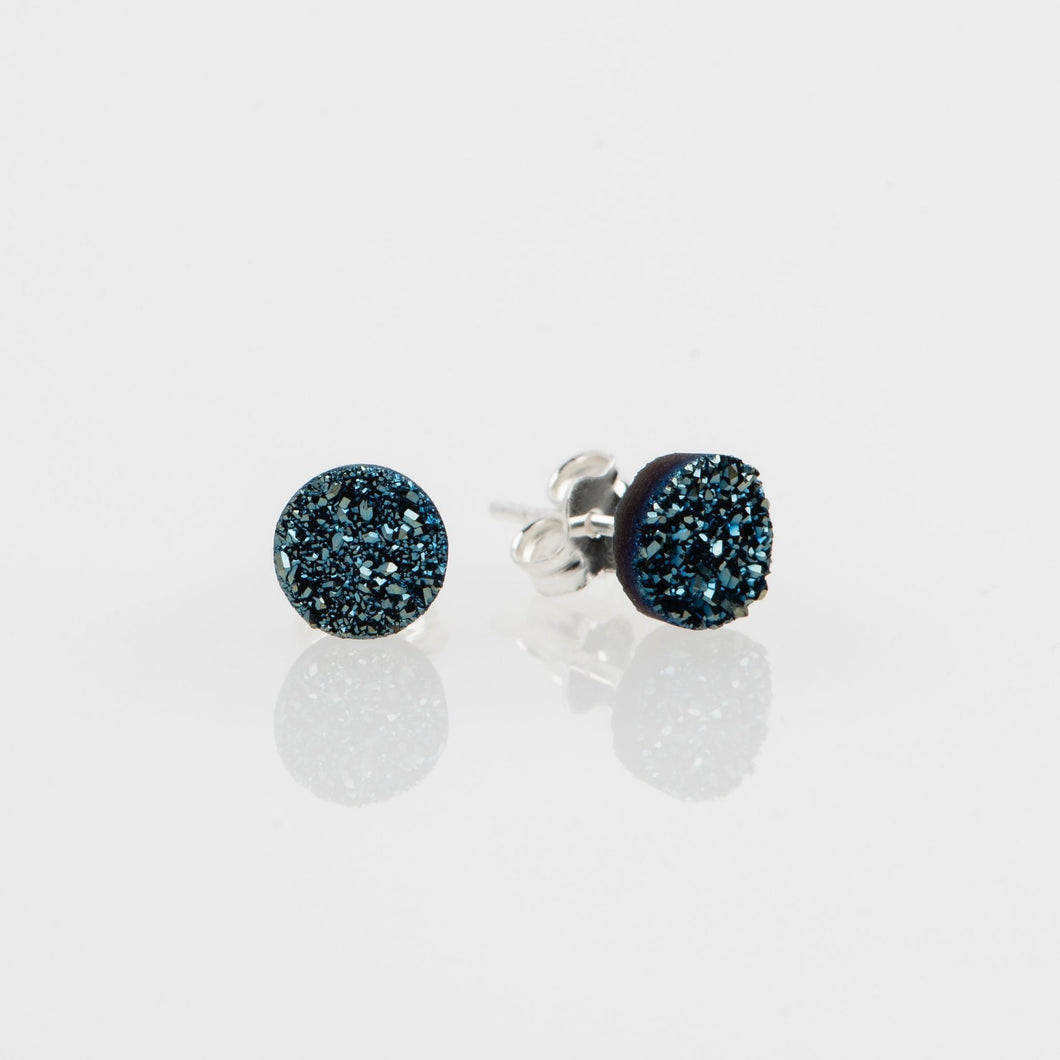 6mm round cut ocean blue druzy sterling silver stud earrings