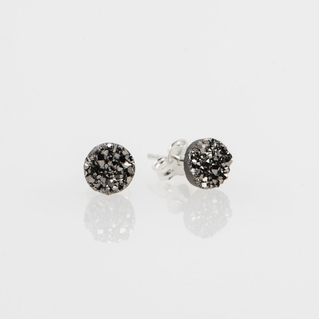 6mm round cut titanium druzy sterling silver stud earrings