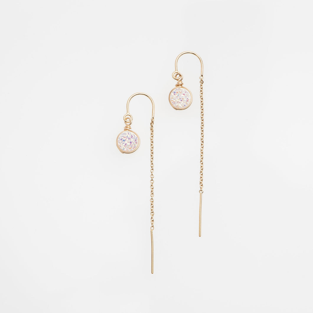 6mm round cut white druzy gold filled thread earrings