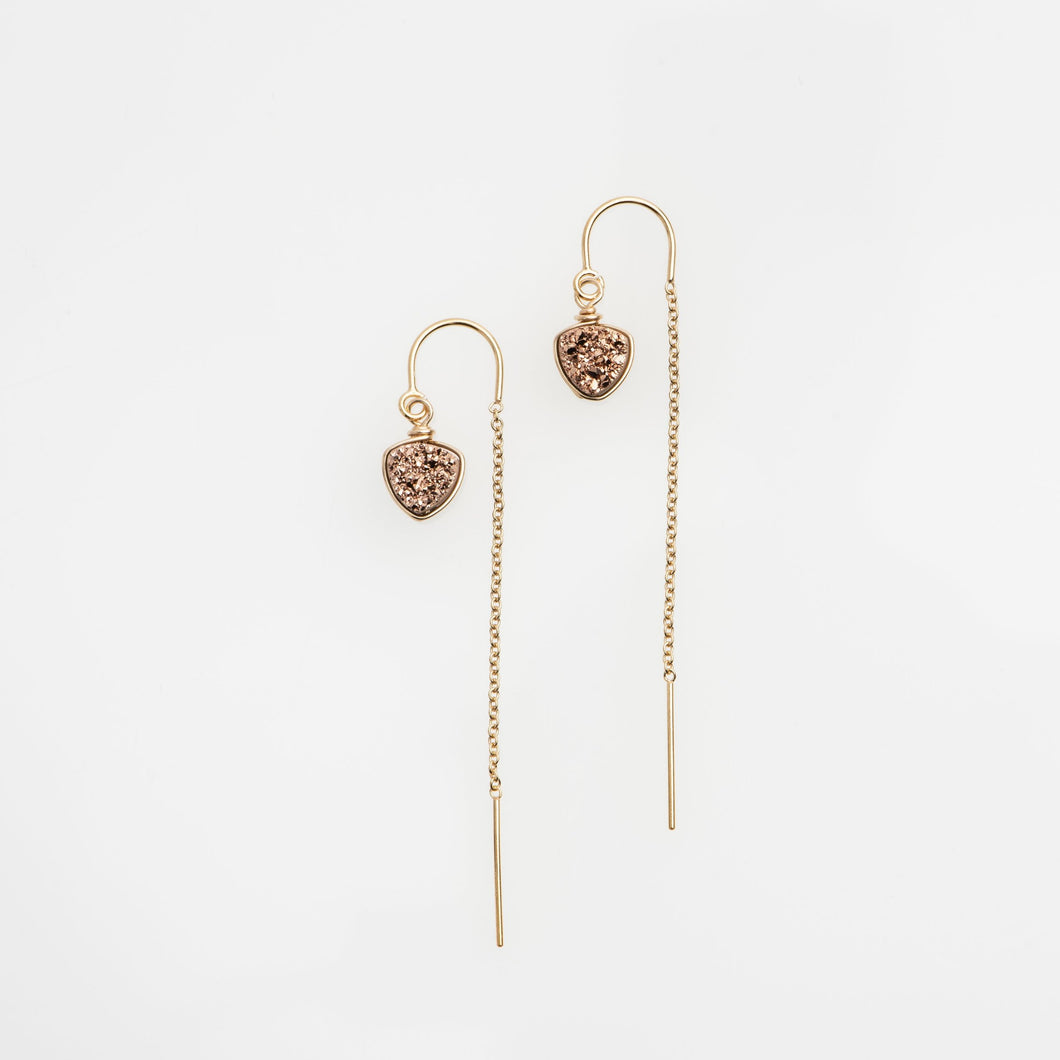 6mm trillion cut rose gold druzy gold filled thread earrings