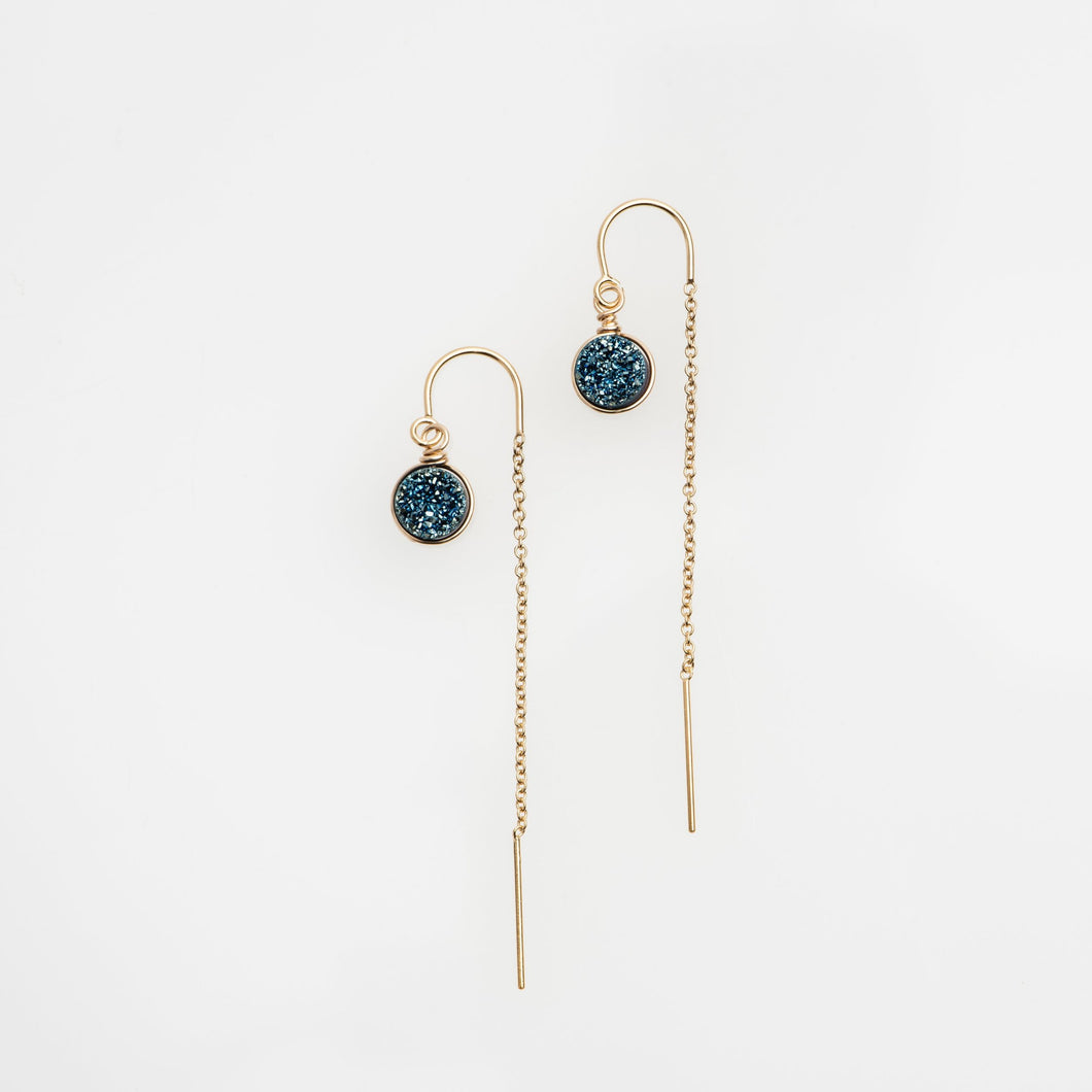 6mm round cut ocean blue gold filled thread earrings
