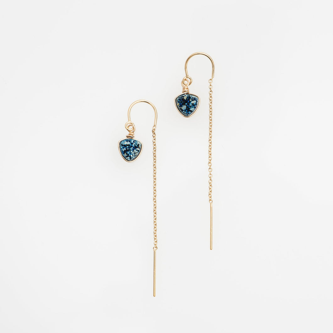 6mm trillion cut ocean blue gold filled thread earrings