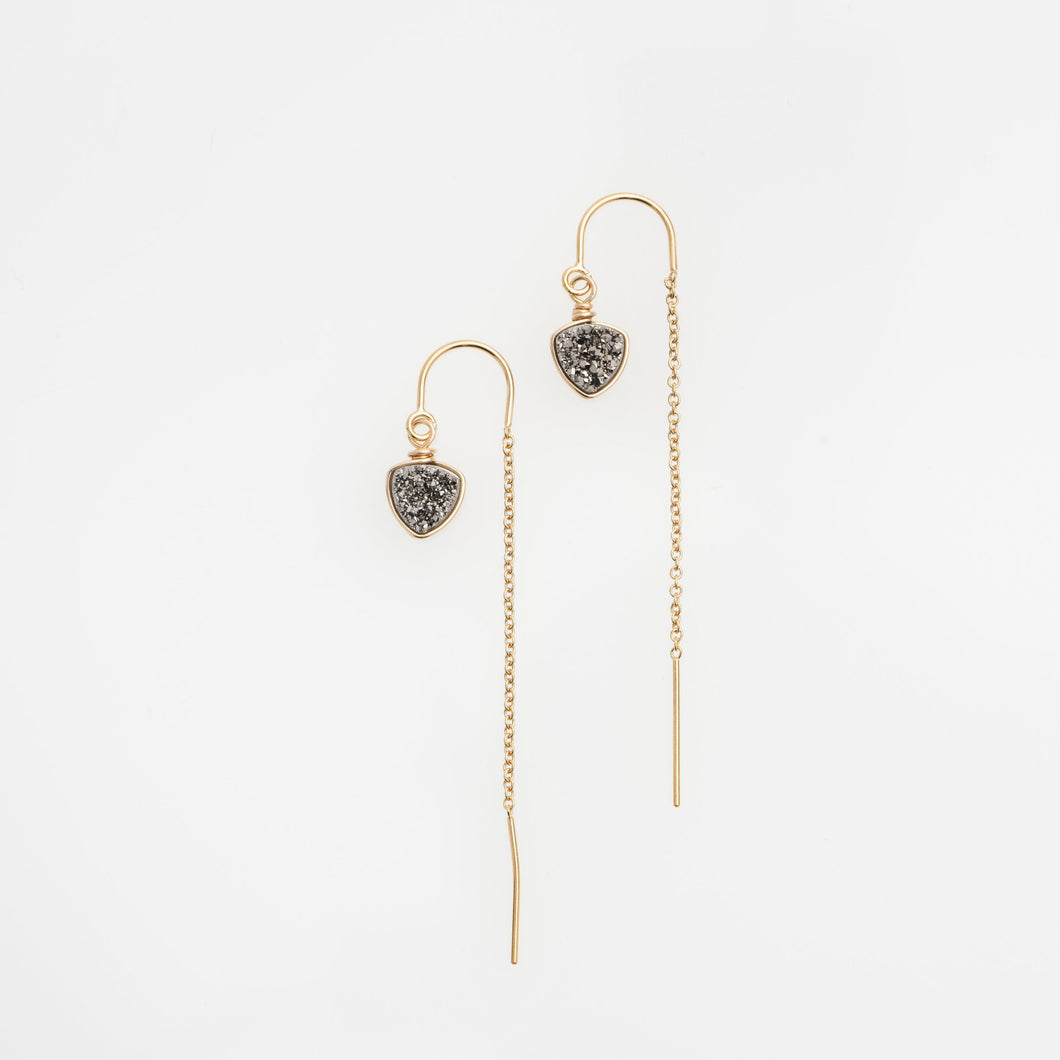 6mm trillion cut titanium gold filled thread earrings