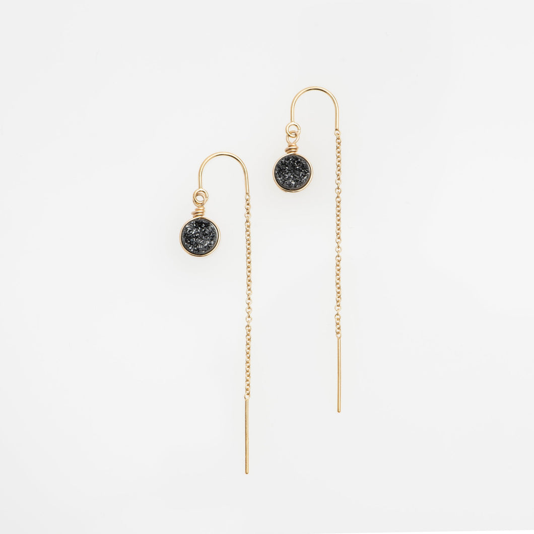 6mm round cut midnight black gold filled thread earrings
