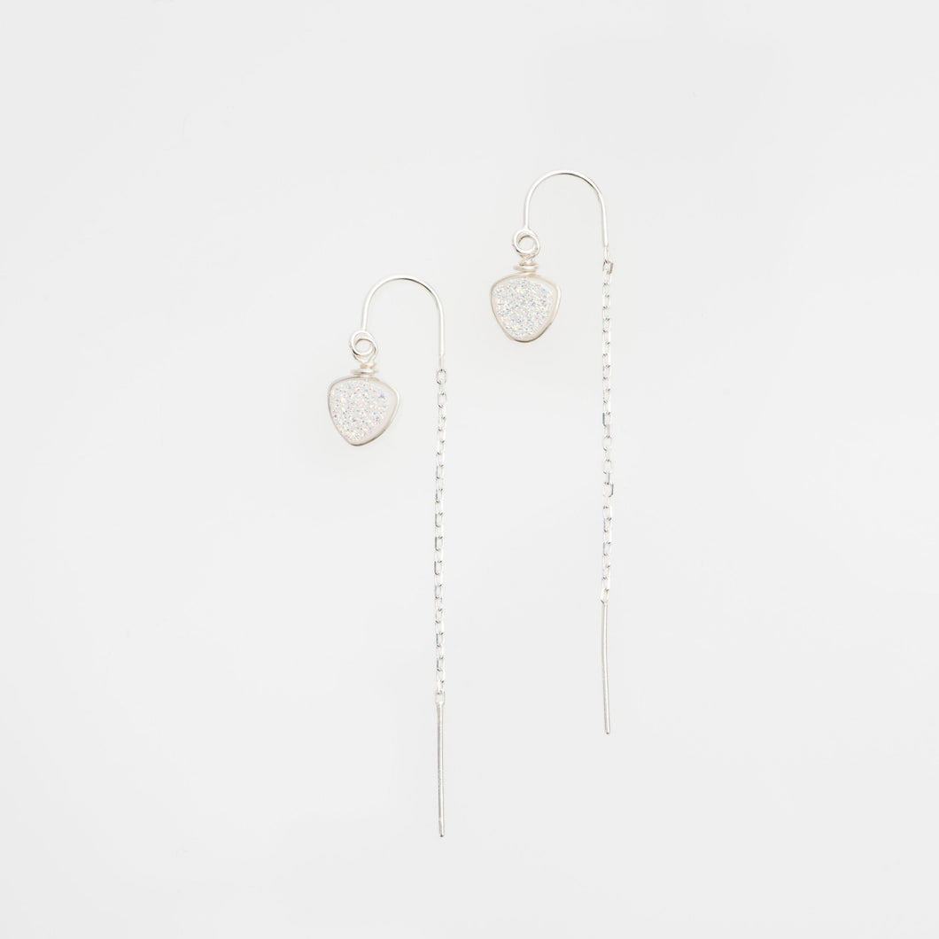 6mm trillion cut snow white sterling silver thread earrings
