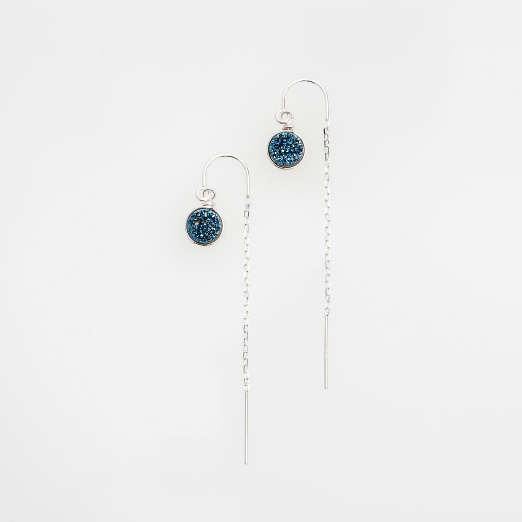 6mm round cut ocean blue sterling silver thread earrings