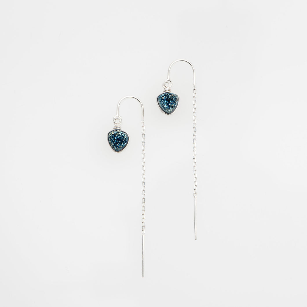 6mm trillion cut ocean blue sterling silver thread earrings