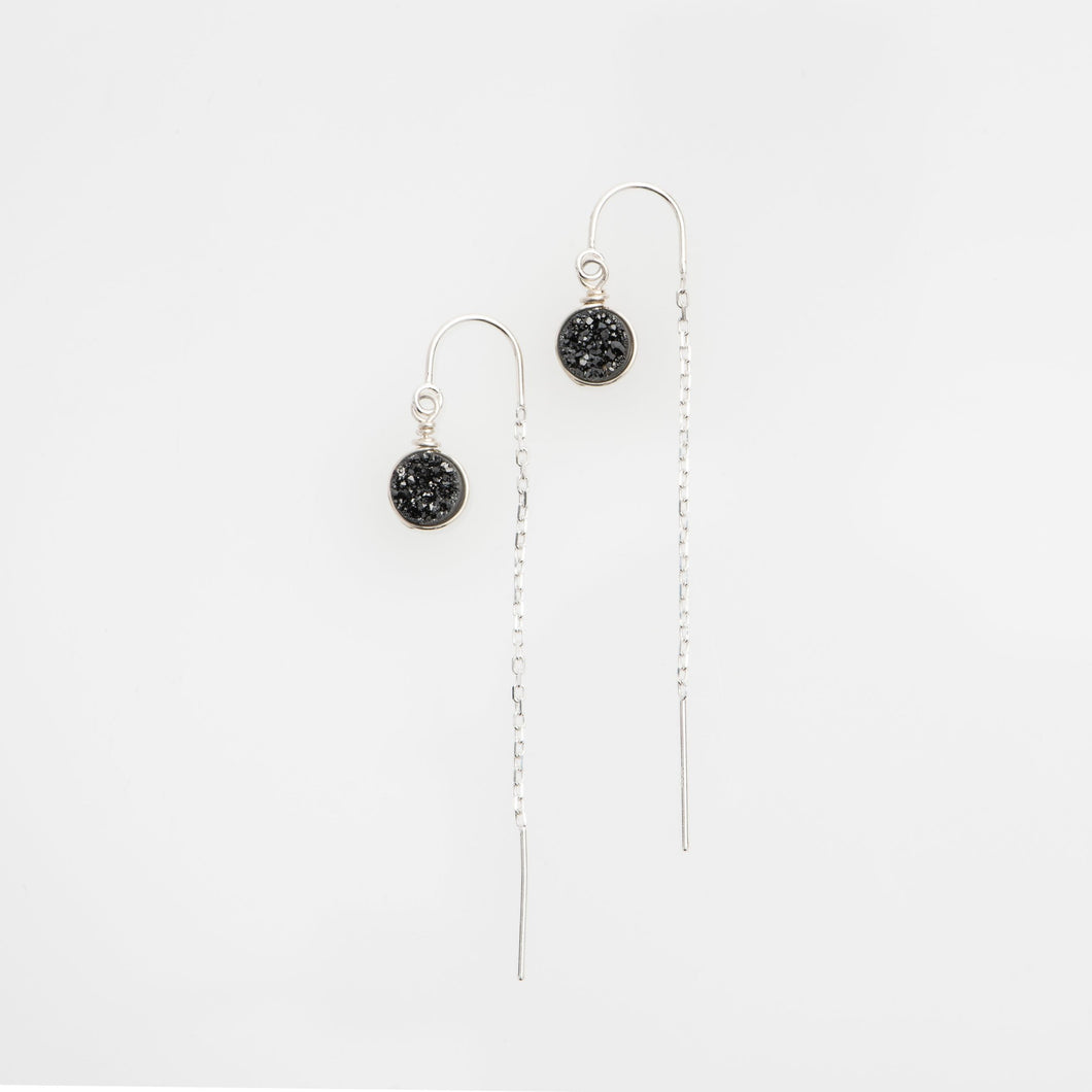 6mm round cut midnight black sterling silver thread earrings