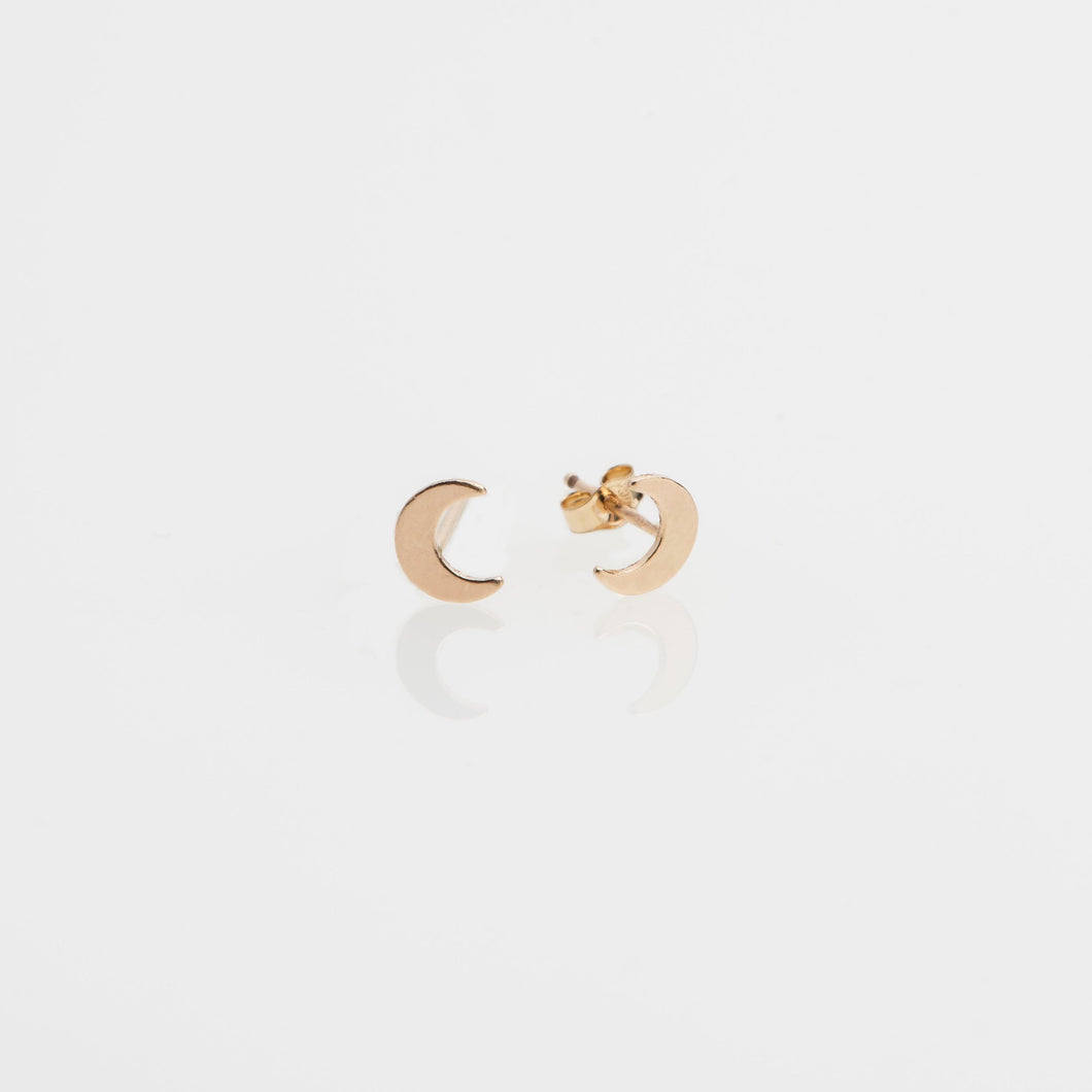 14kt gold filled 5x6mm crescent moon stud earrings
