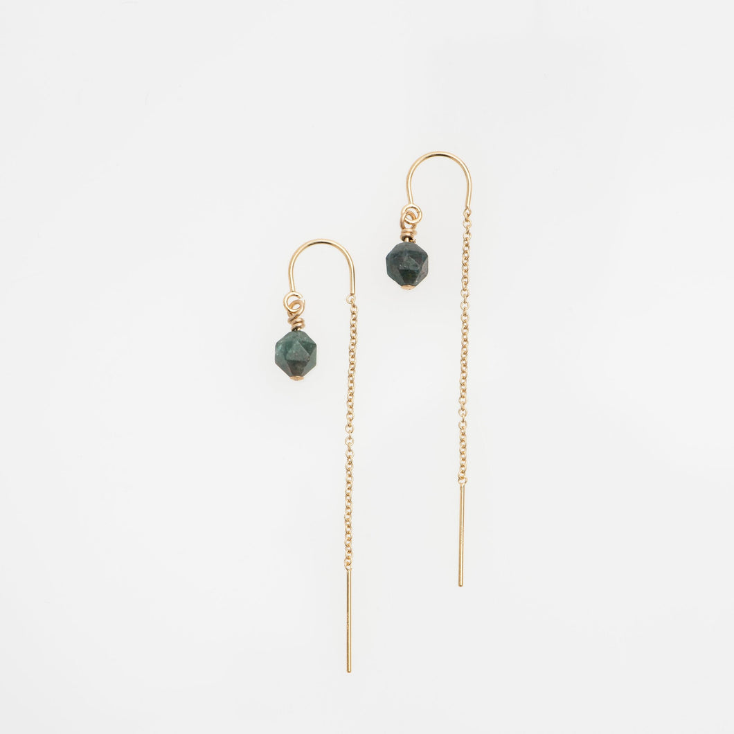 Dark Apatite gold filled earring threads