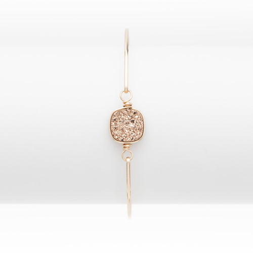 Lg Cushion Rose Gold Druzy Gold Filled Bangle