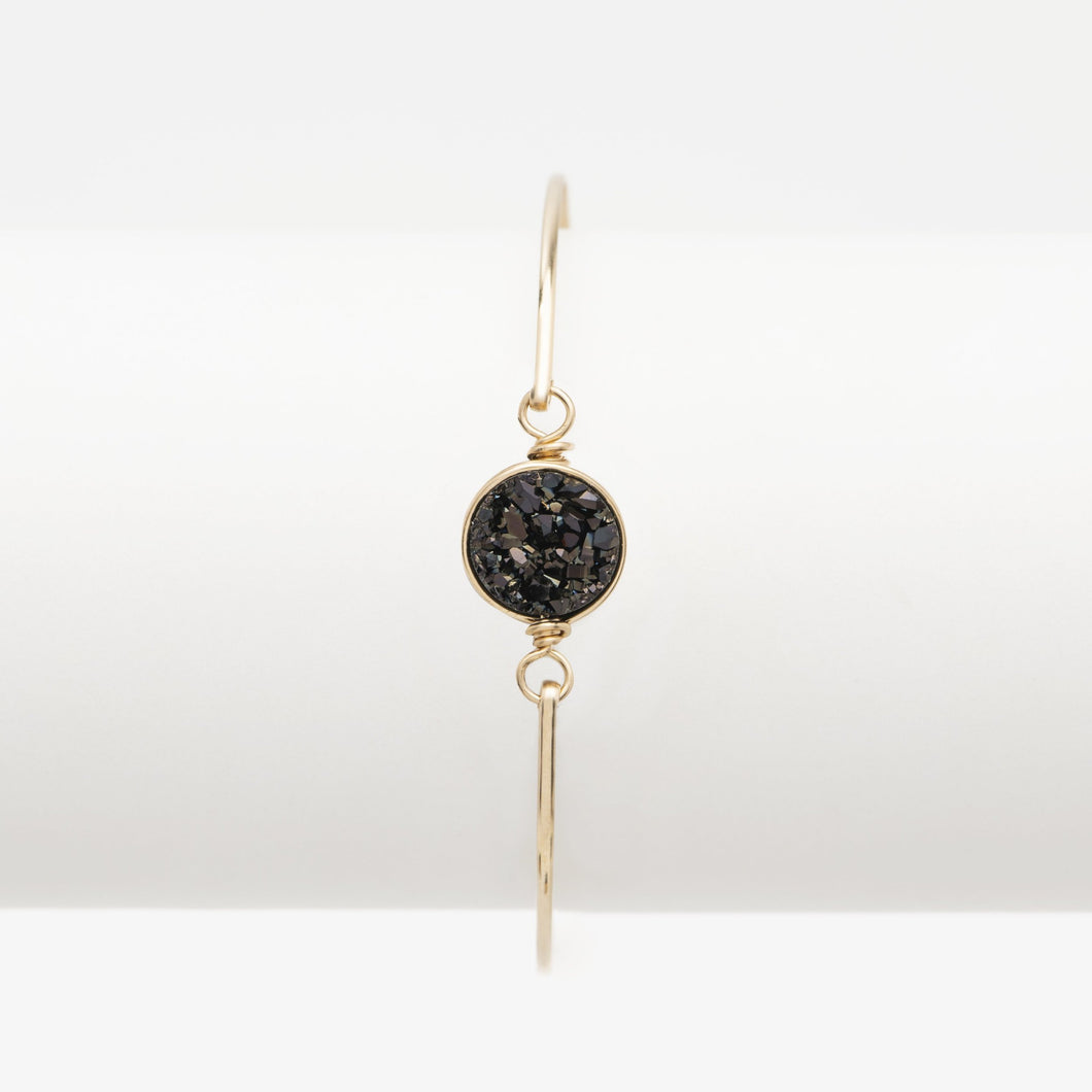 Round Midnight Black Druzy Gold Filled Bangle