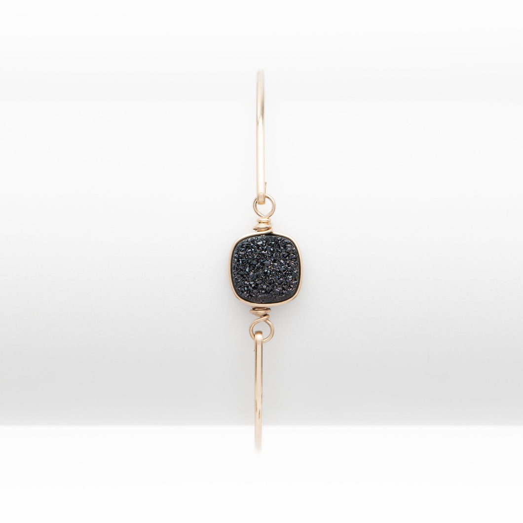 Lg Cushion Midnight Black Druzy Gold Filled Bangle