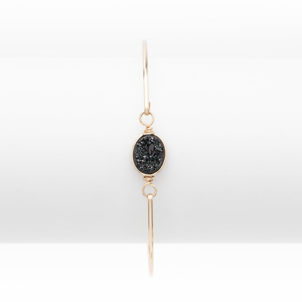 Oval Midnight Black Druzy Gold Filled Bangle