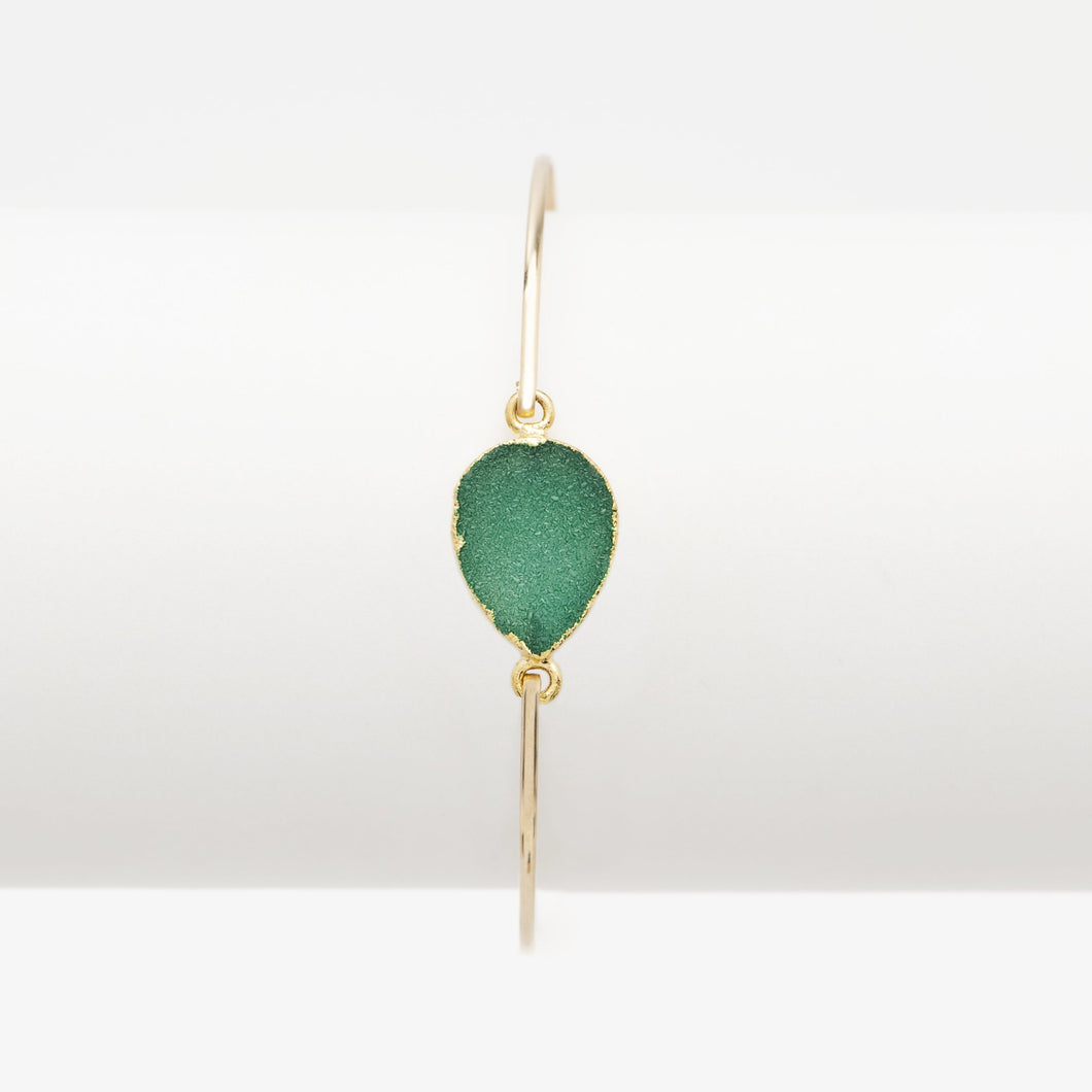 Druzy Green Pear Gold Bangle