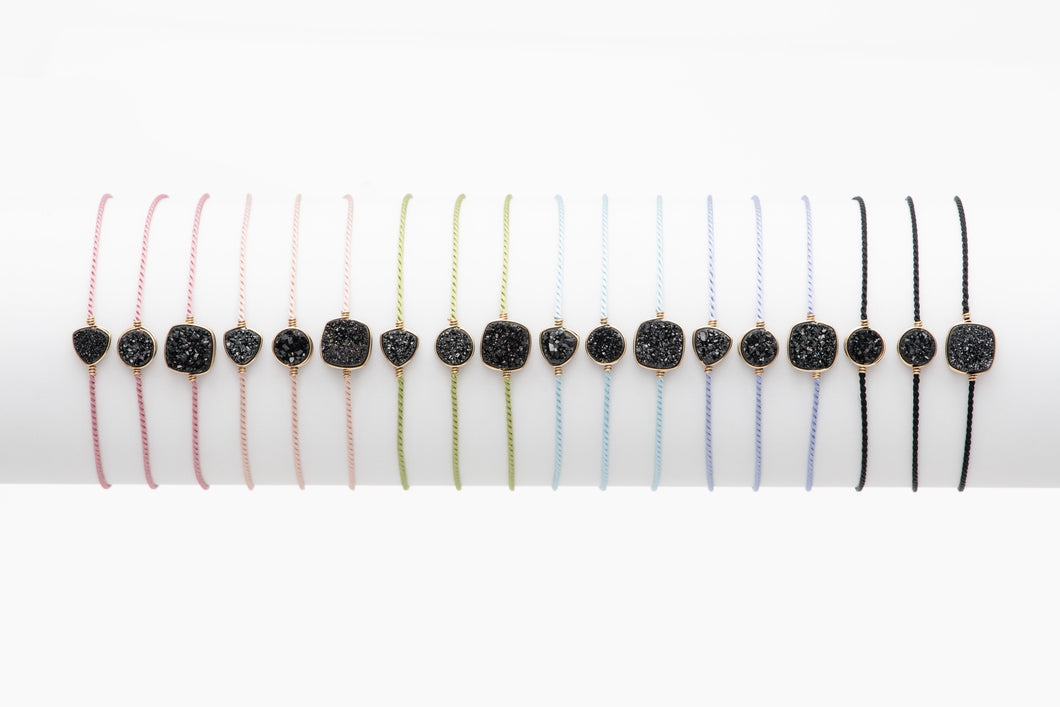 Druzy Midnight Black Silk Cord Bracelet