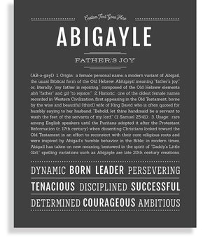 Abigayle Classic name print charcoal gray