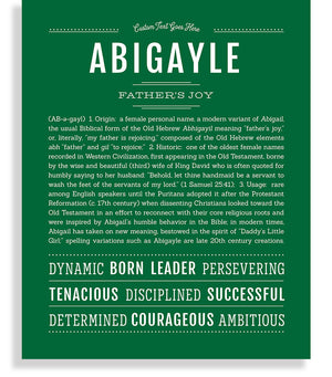 Abigayle Classic name print emerald green