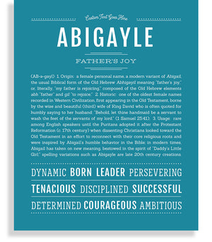 Abigayle Classic name print teal blue