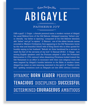 Abigayle Classic name print royal blue