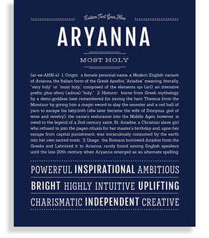 Aryanna Name Art Print Personalized Gift