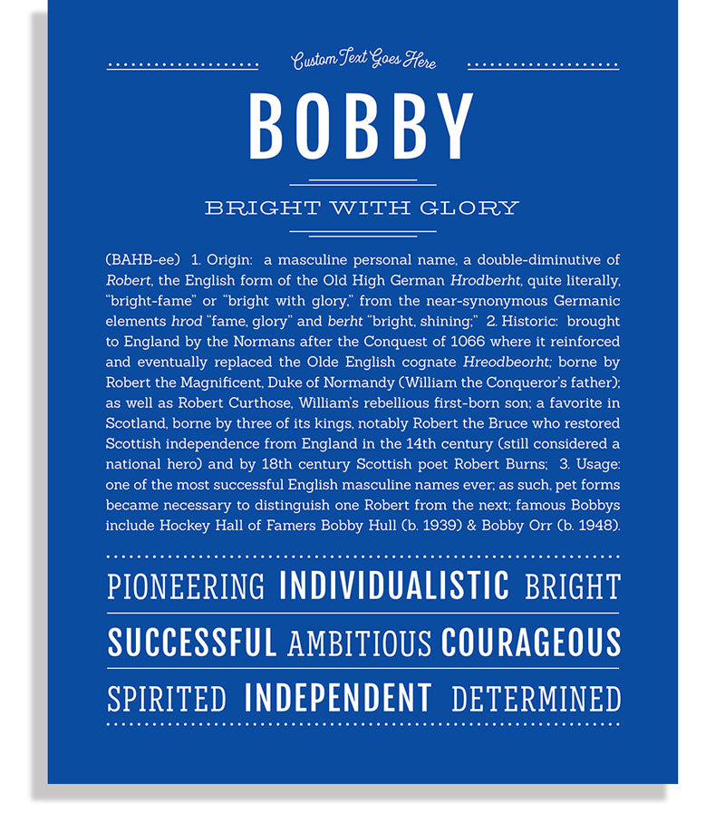 Bobby | Classic Name Print - Name Stories