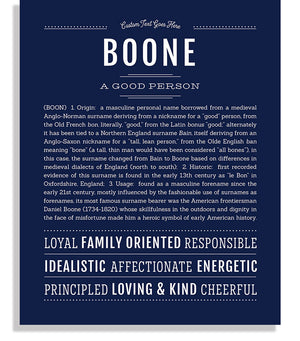 Boone Classic name print navy blue