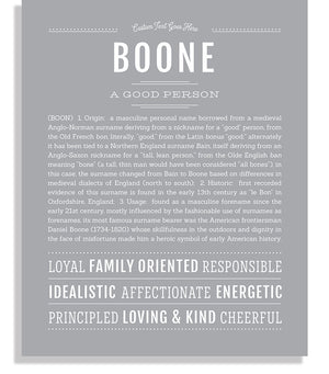 Boone Classic name print light gray