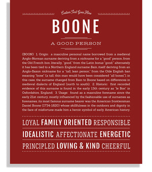 Boone Classic name print deep red