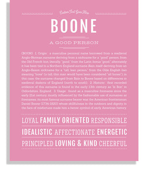 Boone Classic name print light pink