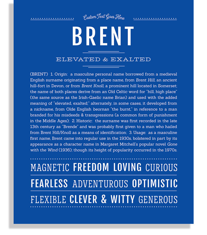 Brent | Classic Name Print - Name Stories