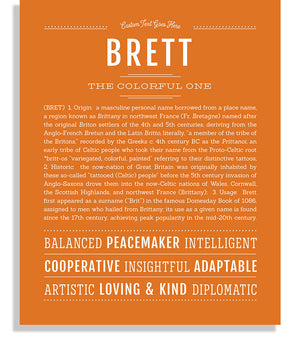 Brett Classic name print orange
