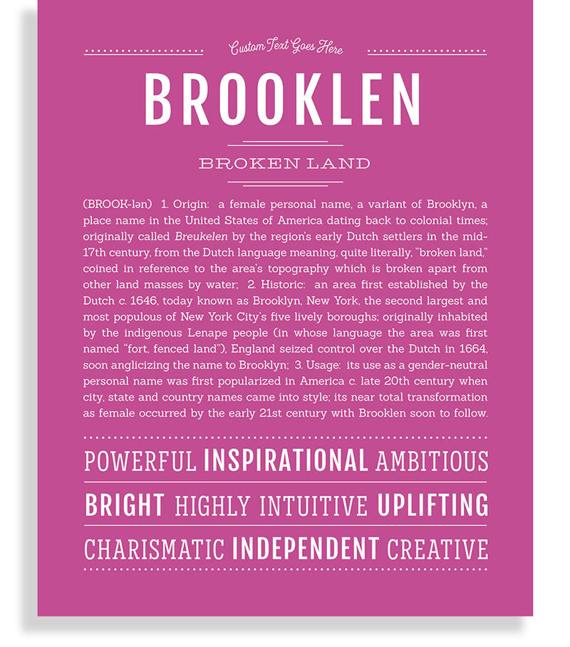 Brooklen | Classic Name Print - Name Stories