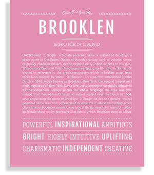 Brooklen Classic name print light pink