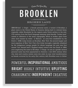 Brooklen Classic name print charcoal gray